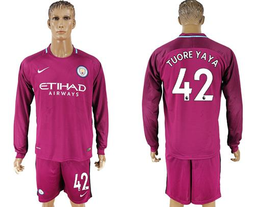 Manchester City #42 Toure Yaya Away Long Sleeves Soccer Club Jersey