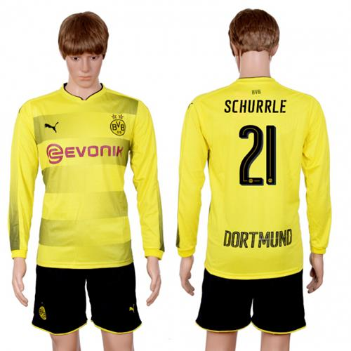 Dortmund #21 Schurrle Home Long Sleeves Soccer Club Jersey