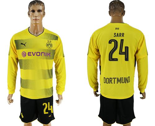 Dortmund #24 Sarr Home Long Sleeves Soccer Club Jersey