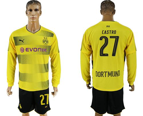 Dortmund #27 Castro Home Long Sleeves Soccer Club Jersey