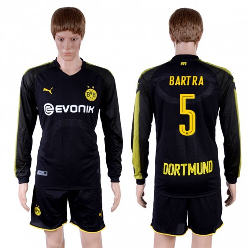 Dortmund #5 Bartra Away Long Sleeves Soccer Club Jersey