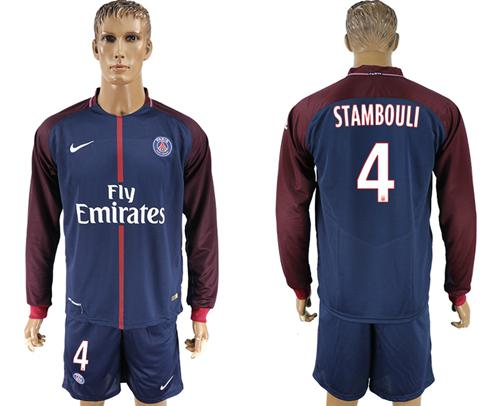 Paris Saint-Germain #4 Stambouli Home Long Sleeves Soccer Club Jersey
