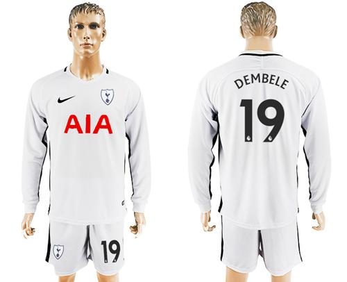 Tottenham Hotspur #19 Dembele Home Long Sleeves Soccer Club Jersey