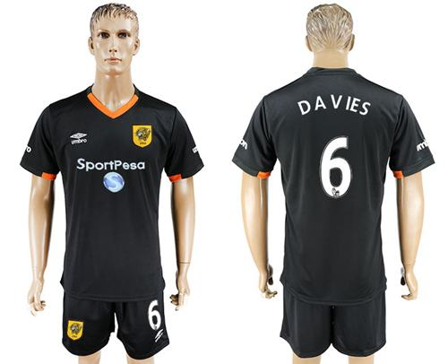 Hull City #6 Davies Away Soccer Club Jersey