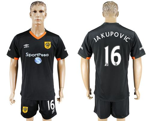 Hull City #16 Jakupovic Away Soccer Club Jersey