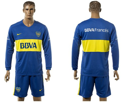 Boca Juniors Blank Home Long Sleeves Soccer Club Jersey