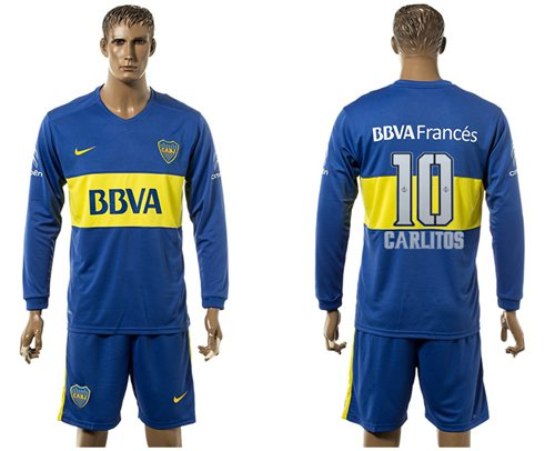 Boca Juniors #10 Carlitos Home Long Sleeves Soccer Club Jersey