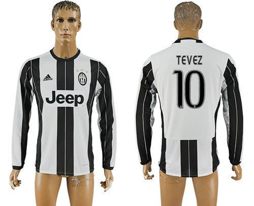 Juventus #10 Tevez Home Long Sleeves Soccer Club Jersey
