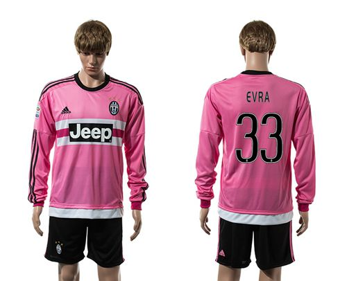 Juventus #33 Evra Pink Long Sleeves Soccer Club Jersey