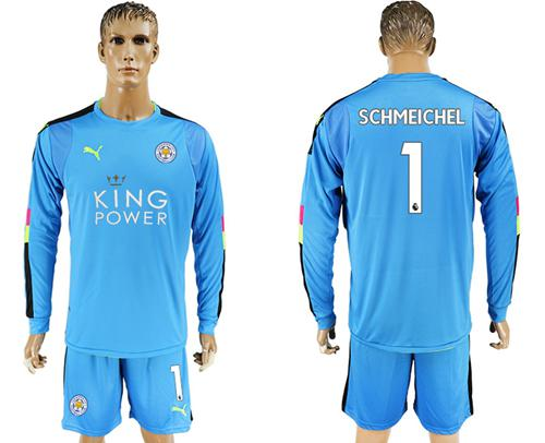 Leicester City #1 Schmeichel Light Blue Goalkeeper Long Sleeves Soccer Club Jersey
