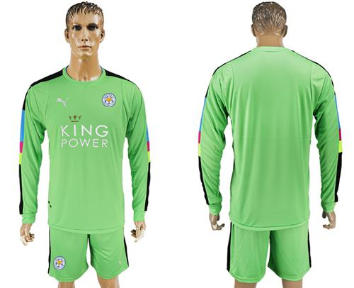 Leicester City Blank Green Goalkeeper Long Sleeves Soccer Club Jersey
