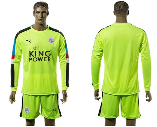 Leicester City Blank Shiny Green Goalkeeper Long Sleeves Soccer Club Jersey
