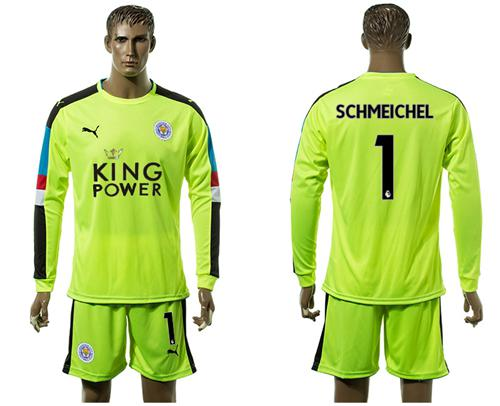 Leicester City #1 Schmeichel Shiny Green Goalkeeper Long Sleeves Soccer Club Jersey