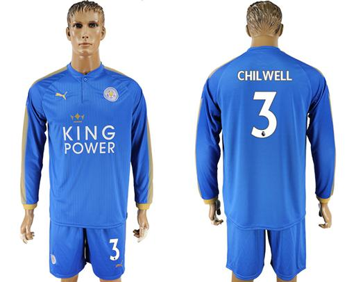 Leicester City #3 Chilwell Home Long Sleeves Soccer Club Jersey