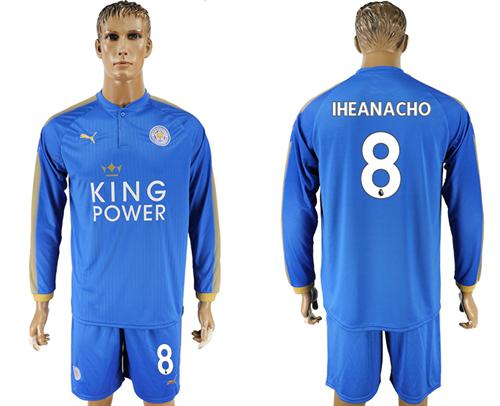 Leicester City #8 Iheanacho Home Long Sleeves Soccer Club Jersey