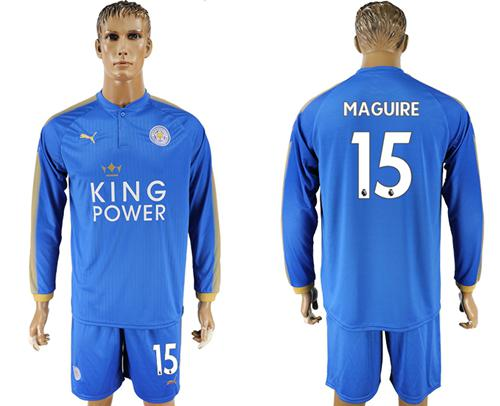 Leicester City #15 Maguire Home Long Sleeves Soccer Club Jersey