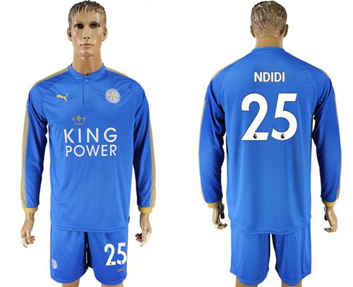 Leicester City #25 Ndidi Home Long Sleeves Soccer Club Jersey