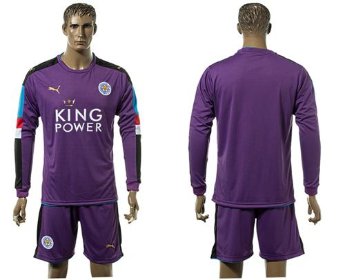 Leicester City Blank Purple Goalkeeper Long Sleeves Soccer Club Jersey