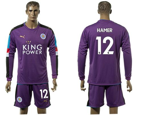 Leicester City #12 Hamer Purple Goalkeeper Long Sleeves Soccer Club Jersey