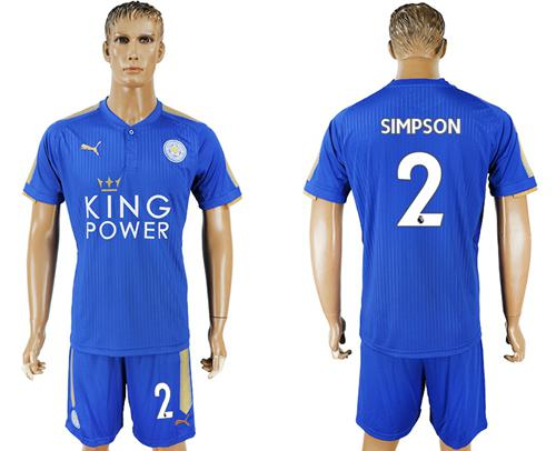 Leicester City #2 Simpson Home Soccer Club Jersey