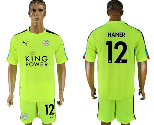 Leicester City #12 Hamer Shiny Green Goalkeeper Soccer Club Jersey