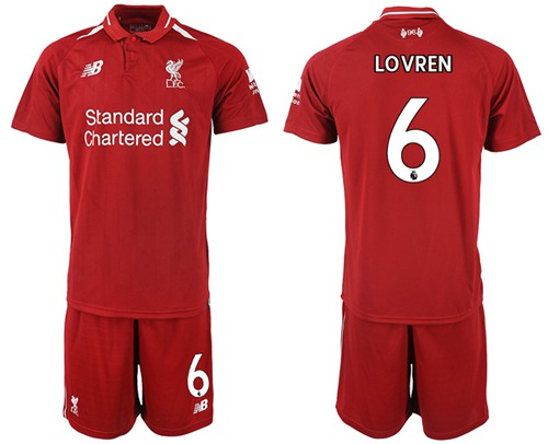 Liverpool #6 Lovren Red Home Soccer Club Jersey