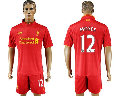 Liverpool #12 Moses Red Home Soccer Club Jersey