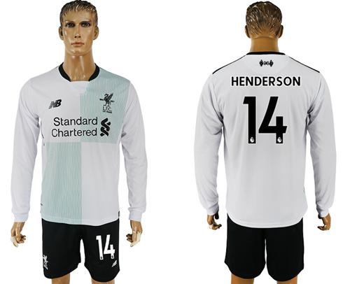 Liverpool #14 Henderson Away Long Sleeves Soccer Club Jersey