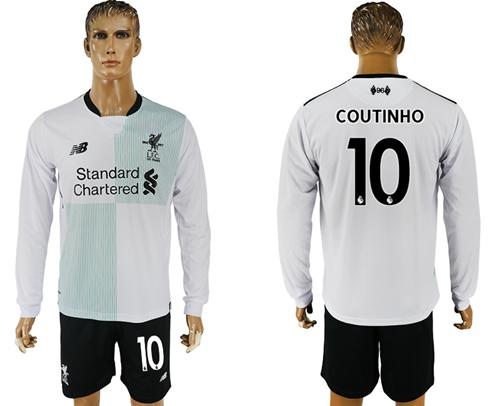 Liverpool #10 Coutinho Away Long Sleeves Soccer Club Jersey