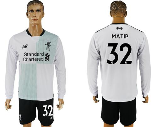Liverpool #32 Matip Away Long Sleeves Soccer Club Jersey