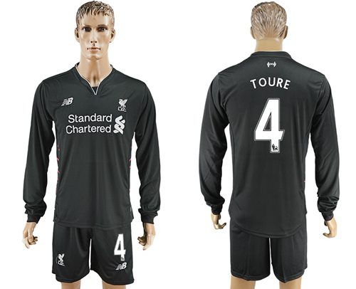 Liverpool #4 Toure Away Long Sleeves Soccer Club Jersey