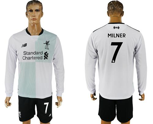 Liverpool #7 Milner Away Long Sleeves Soccer Club Jersey