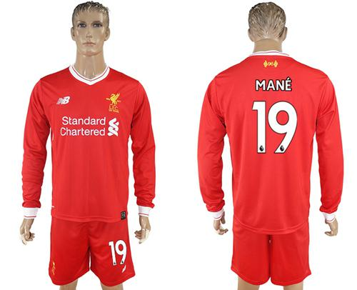 Liverpool #19 Mane Home Long Sleeves Soccer Club Jersey