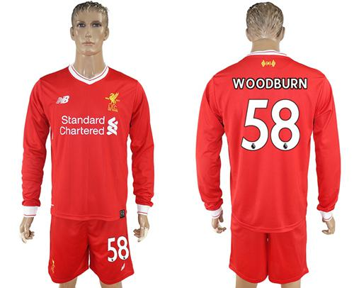 Liverpool #58 Woodburn Home Long Sleeves Soccer Club Jersey