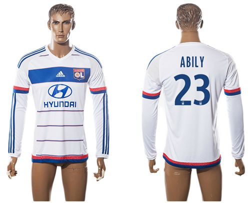 Lyon #23 Abily Home Long Sleeves Soccer Club Jersey