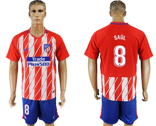 Atletico Madrid #8 Saul Home Soccer Club Jersey