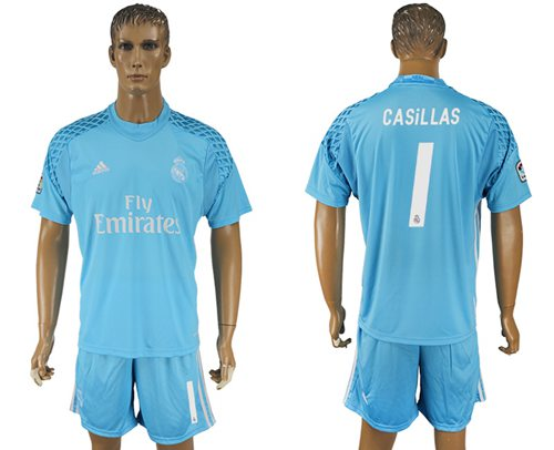 Real Madrid #1 Casillas Sky Blue Goalkeeper Soccer Club Jersey