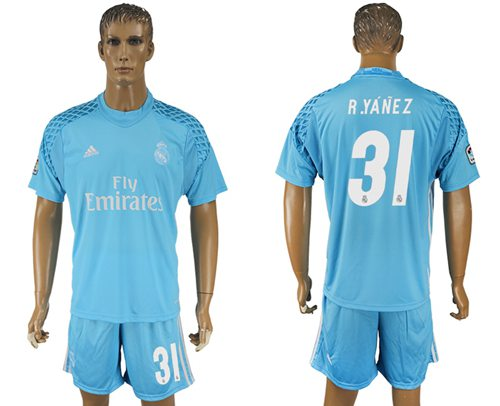 Real Madrid #31 R.Yanez Sky Blue Goalkeeper Soccer Club Jersey