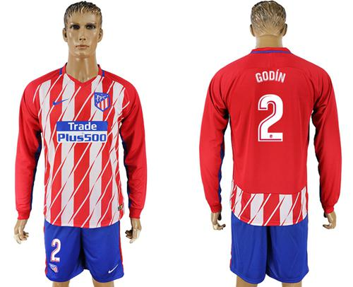Atletico Madrid #2 Godin Home Long Sleeves Soccer Club Jersey