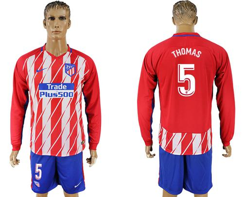 Atletico Madrid #5 Thomas Home Long Sleeves Soccer Club Jersey