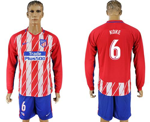 Atletico Madrid #6 Koke Home Long Sleeves Soccer Club Jersey