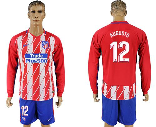 Atletico Madrid #12 Augusto Home Long Sleeves Soccer Club Jersey