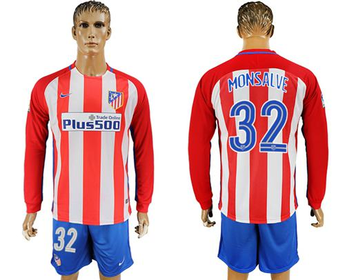 Atletico Madrid #32 Monsalve Home Long Sleeves Soccer Club Jersey