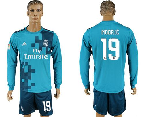 Real Madrid #19 Modric Sec Away Long Sleeves Soccer Club Jersey