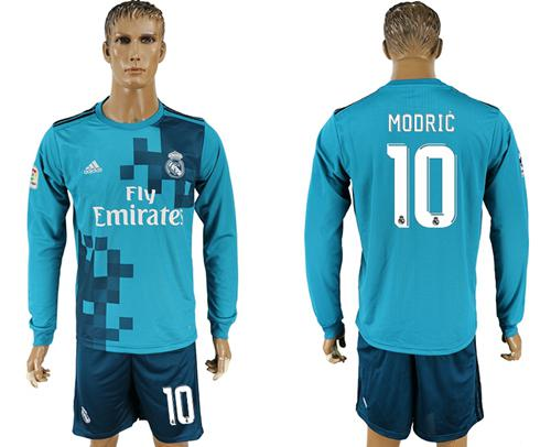 Real Madrid #10 Modric Sec Away Long Sleeves Soccer Club Jersey