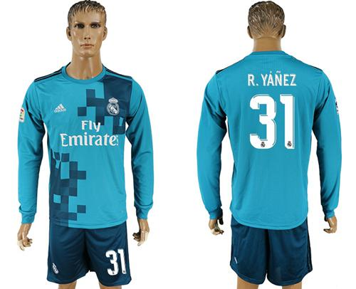 Real Madrid #31 R.Yanez Sec Away Long Sleeves Soccer Club Jersey