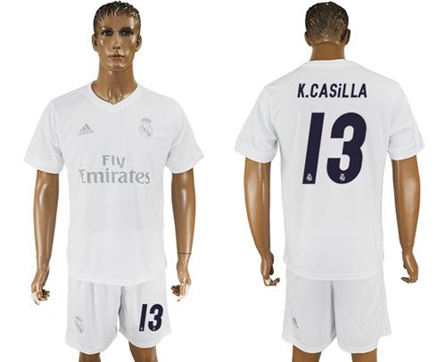 Real Madrid #13 K.Casilla Marine Environmental Protection Home Soccer Club Jersey
