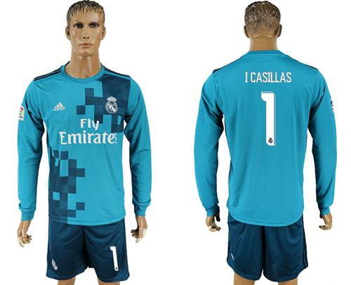 Real Madrid #1 I Casillas Sec Away Long Sleeves Soccer Club Jersey