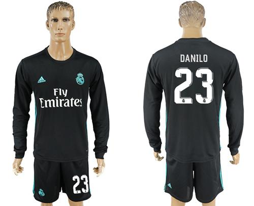 Real Madrid #23 Danilo Away Long Sleeves Soccer Club Jersey