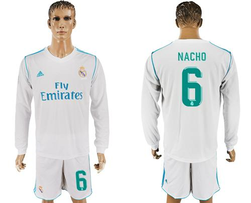 Real Madrid #6 Nacho White Home Long Sleeves Soccer Club Jersey